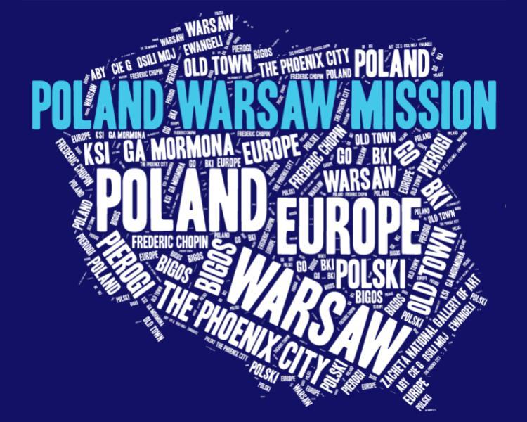 Poland Warsaw Mission LDS logo tshirt