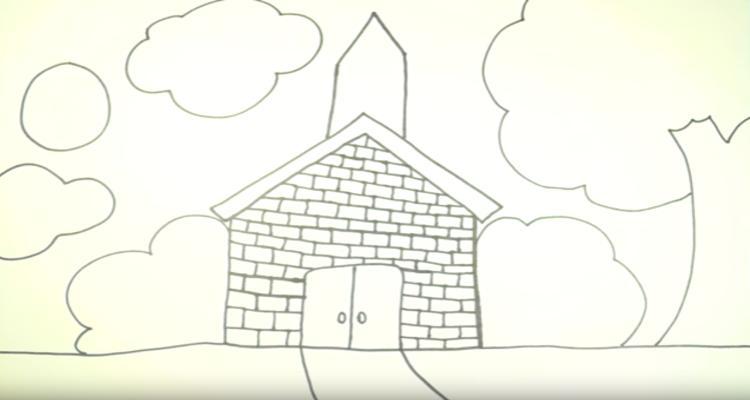 How To Draw Church Scenery