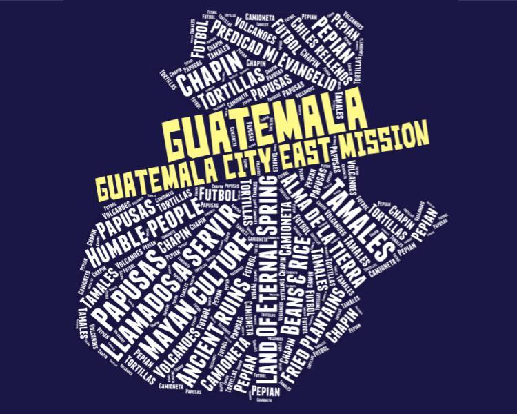 Guatemala City East Mission Tshirt Word cloud